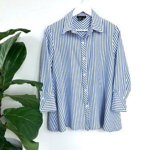2/$25 Tracy M. • Striped Silk Button-Up Blouse